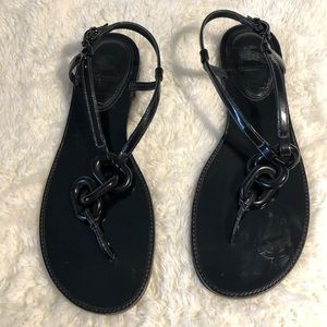 Burberry Shiny Black Patent Leather Chain Sandals